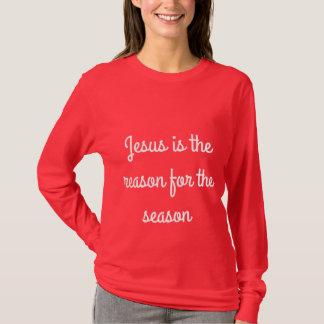 """Camiseta """"Jesus é a razão para o T das mulheres da estação"""""""