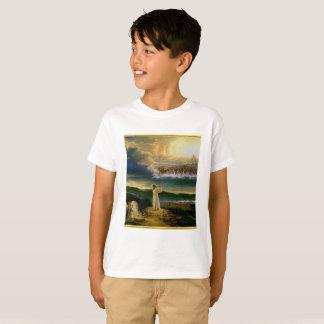 Camiseta Jesus no design da textura do ouro da porta do céu