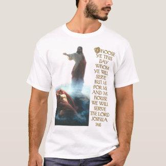 Camiseta Jesus que derrota o 24:15 da satã e do Joshua