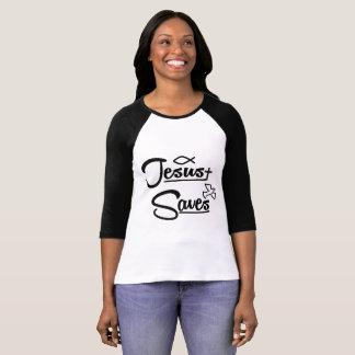 Camiseta Jesus salvar o t-shirt do Raglan
