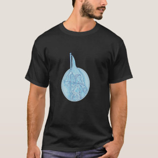 Camiseta Joana do arco que guardara o desenho oval da