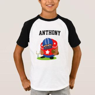 Camiseta Jogador de futebol americano bonito que guardara