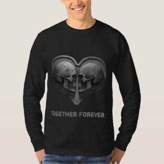 Camiseta Junto para sempre t-shirt longo preto da luva
