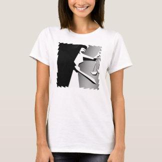 Camiseta Justiça minimalista preto e branco