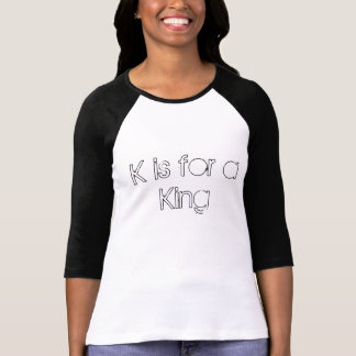 Camiseta K é para um Raglan cabido luva do rei Senhora 3/4