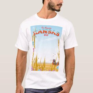 Camiseta Kansas EUA cultiva o poster de viagens retro