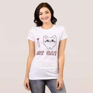 Camiseta Kawaii delicada gato Chibi Anime Japão gatinho