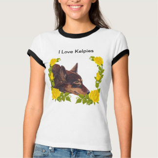 Camiseta Kelpie australiano vermelho em rosas amarelos