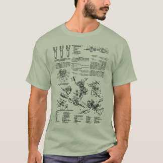Camiseta Kitsch manual da ilustração da motocicleta do