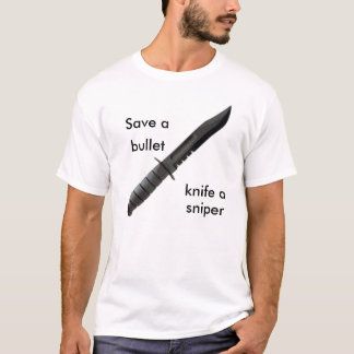 Camiseta knife4, salvar a, bala, faca a, atirador furtivo