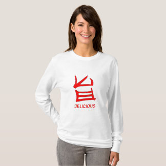 Camiseta L-slv delicioso das mulheres do vermelho JE do