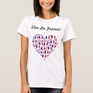 Camiseta La France de Vive eu amo o coração da bandeira de