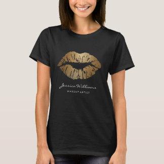 Camiseta Lábios chiques do brilho do ouro do maquilhador