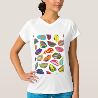 Camiseta Lábios coloridos retros psicóticos do teste padrão