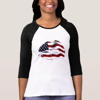 Camiseta Lábios da bandeira dos EUA