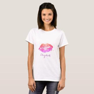 Camiseta Lábios femininos modernos do brilho, maquilhador