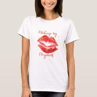 Camiseta Lábios vermelhos do brilho feminino moderno,