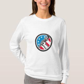 Camiseta Lado Circ angular da bandeira dos EUA da chave de