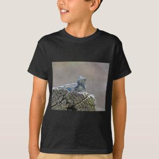 Camiseta Lagarto de jacaré azul da barriga