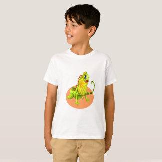 Camiseta Lagarto feliz verde adorável da iguana da natureza