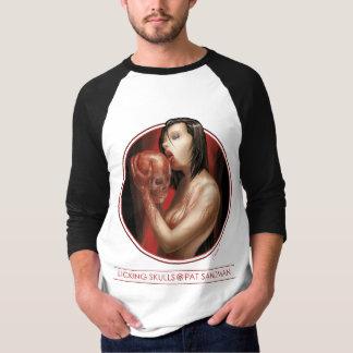 Camiseta Lambendo os crânios 3/4 de jérsei