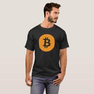 Camiseta Laranja do logotipo de Bitcoin no preto