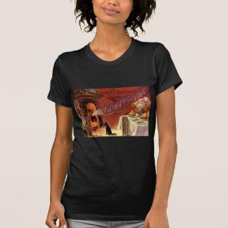 Camiseta Lareira Turquia do gato preto do comensal da acção