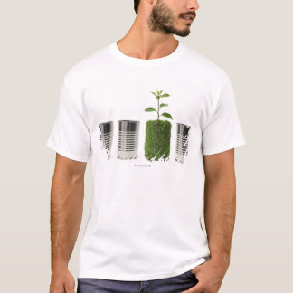 Camiseta Latas do metal e exibição nova do crescimento da