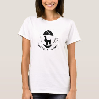 Camiseta Lattes e t-shirt do logotipo dos lamas