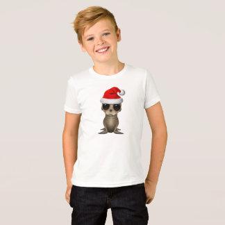 Camiseta Leão de mar do bebê que veste um chapéu do papai