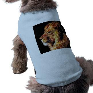 Camiseta Leão selvagem - colagem do leão - mosaico do leão
