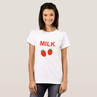 Camiseta Leite brilhante da morango