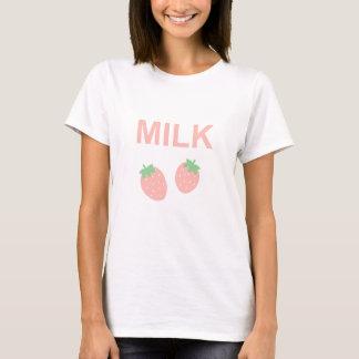 Camiseta Leite Pastel da morango