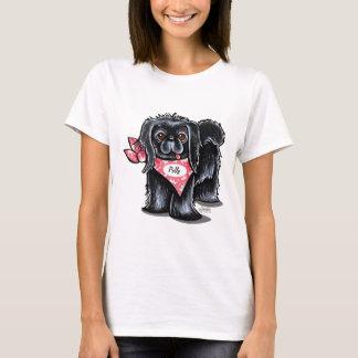 Camiseta Lenço cor-de-rosa personalizado preto do nome de