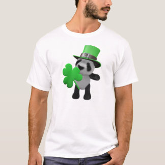Camiseta Leprechaun bonito da panda 3d (editável)