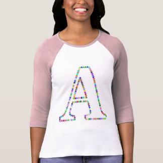 Camiseta Letra A da estrela do arco-íris