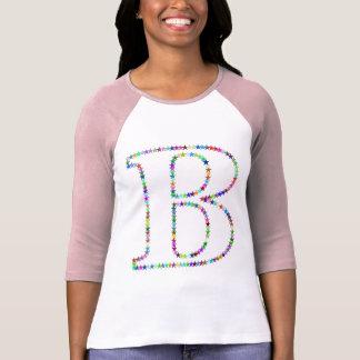 Camiseta Letra B da estrela do arco-íris