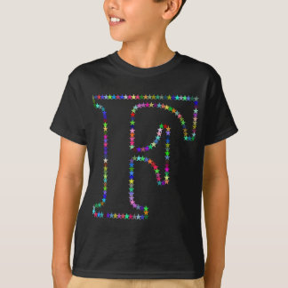 Camiseta Letra F da estrela do arco-íris