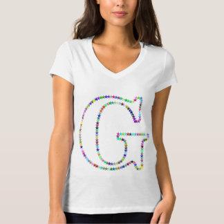 Camiseta Letra G da estrela do arco-íris