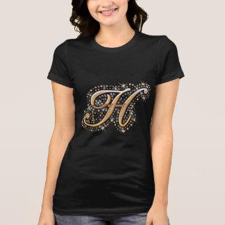 Camiseta Letra inicial H do monograma do ouro