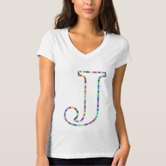 Camiseta Letra J da estrela do arco-íris