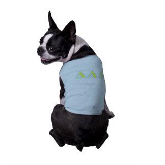 Camiseta Letras azuis e amarelas do delta do delta do delta