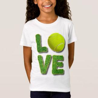 Camiseta Letras da grama verde da bola do amarelo do tênis