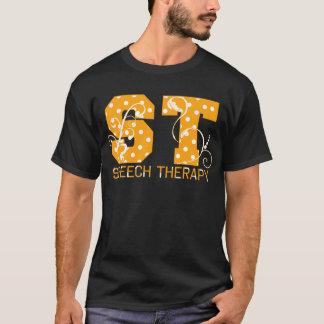 Camiseta letras da rua alaranjadas e bolinhas brancas