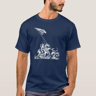 Camiseta Levantamento da bandeira de WWII Iwo Jima, branco