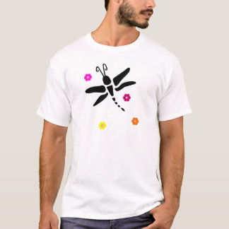 Camiseta libélula e flores
