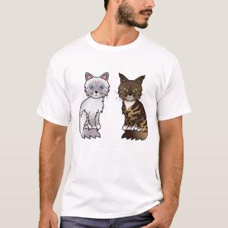 Camiseta Lilac e gatos de gato malhado de Brown