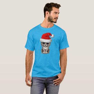 Camiseta Lince bonito Cub que veste um chapéu do papai noel