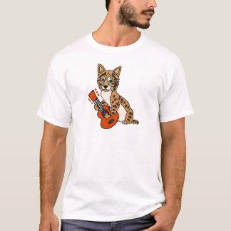 Camiseta Lince engraçado que joga a arte da guitarra