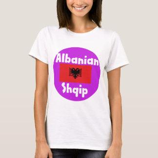 Camiseta Língua de Albânia e design da bandeira